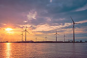 Wind turbines in Antwerp port on sunset.