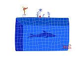 Funny cartoon woman swimmer and a shark shadow
