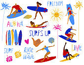 Summer collection of surfing design elements