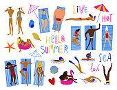 Cartoon funny hello summer collection.
