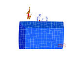 Swimming pool illustration with jumping girl