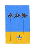 Summer illustration with girl surfer