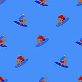 Seamless pattern with surfing men
