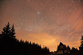 Milky Way stars and suburb countryside silhouettes.