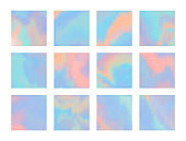 Set of bright blue and pink hologram background