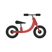 Cute flat red and black kids balance bike icon
