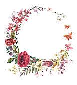 Watercolor vintage burgundy rose and wildflowers wreath