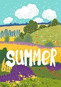 Summer nuture landscape. Colorful floral greeting card.  Cottagecore