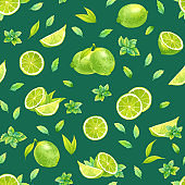 """nIsolated seamless watercolor pattern with lime and mint"