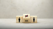 Concept of Equality and Inequality between men and women - 3d illustration