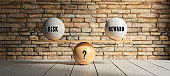 wooden scale balancing spheres with the message RISK, REWARD and ? - 3d illustration