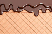 Chocolate Ice Cream Melted on Wafer Background.,3d model and illustration.