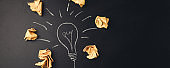Inspiration concept crumpled paper light bulb