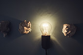 great idea concept with paper and light bulb