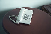 telephone on table in a hotel room