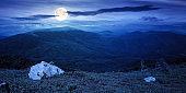 carpathian summer mountain landscape at night