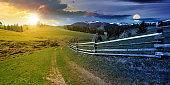 time change above rural landscape in spring