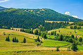 rural fields in mountainous countryside
