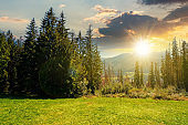 rural landscape in tatra mountains at sunset