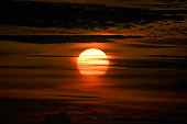 Orange sunset in tropical climate