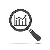 search graph icon flat, search icon design, search icon web, vector magnifying glass