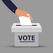 Flat hand putting vote bulletin into ballot box. Election concept