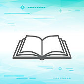 Flat Line design graphic image concept of open book icon on an a