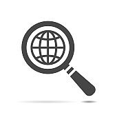 search icon of flat globe planet, vector magnifying glass