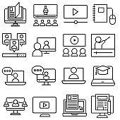 Online Training vector icon. webinar illustration sign. conference symbol.