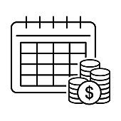 Payout schedule vector icon. Financial calendar sign. Salary date symbol. Charging money logo.