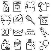 Washing icon vector set. purity illustration sign collection. wash symbol.