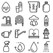 Water icons. Vector line icons set. Premium quality. Simple thin line design. Modern outline symbols collection, pictograms.