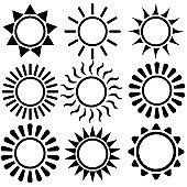 Sun vector icons set. Summer icon illustration collection. hot symbol or logo