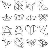 Origami vector icon set. Paper crane, frog, bird illustration sign collection. japan symbol.