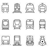 Train vector icon set. tram illustration sign collection. public transport symbol or logo.