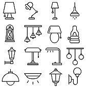 Lamp icon vector set. illuminator construction illustration sign collection. lighting symbol or logo.