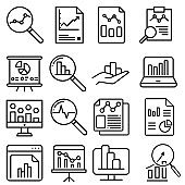 Data analysis icon vector set. profit graph illustration sign collection. data science symbol or logo.
