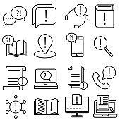 Simple vector icon Set of Info. Help Desk illustration sign collection. documentation symbol.
