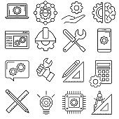 Engineering icon vector set. construction illustration sign collection. designing symbol or logo.