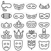 Medical mask icon vector set. virus protection illustration sign collection. hygiene symbol.