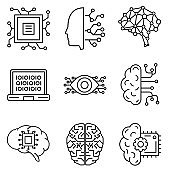 Artificial intelligence icon vector set. AI illustration sign collection. Technology symbol.