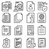 Documents vector icon Set. Contract illustration sign collection. securities symbol.