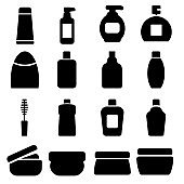 Set of different cosmetic products. Modern thin line icons for Web and Mobile. Vector illustration.