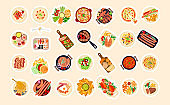 Cute sticky labels decorated with food dishes
