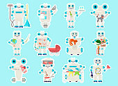 Cute sticky labels decorated with robot assistant