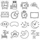 Sleep vector Icons set. recreation illustration sign collection. night symbol.