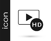 Black Hd movie, tape, frame icon isolated on white background. Vector