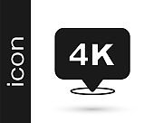 Black 4k Ultra HD icon isolated on white background. Vector
