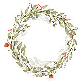 Watercolor floral wreath with branches with leaves and poppy red flowers