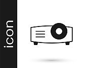 Black Presentation, movie, film, media projector icon isolated on white background. Vector